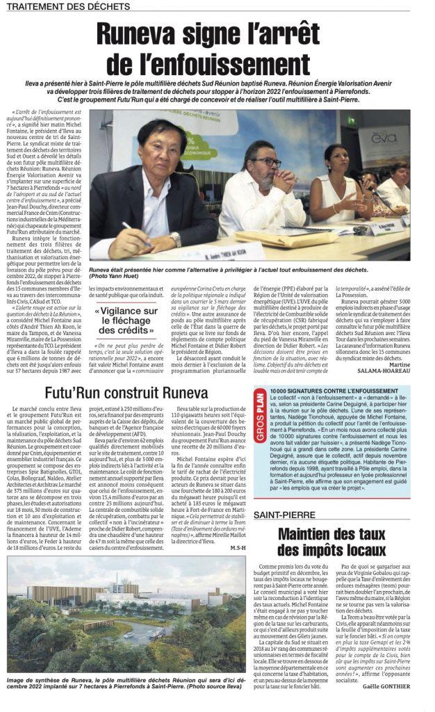 """""""RunE.V.A signe l'arrêt de l'enfouissement""""  Article paru le jeudi 25 avril 2019 dans le QUOTIDIEN"""